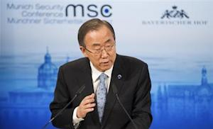 U.N. Secretary General Ban Ki-moon gives his speech during the annual Munich Security Conference