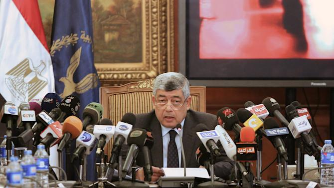 Egypt's Interior Minister Mohamed Ibrahim talks during a news conference in Cairo