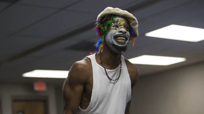 """Inmate Jacquies Manson participates in the workshop """"Commedia Dell'Arte"""", part of the The Actors' Gang Prison Project program at the California Rehabilitation Center in Norco"""
