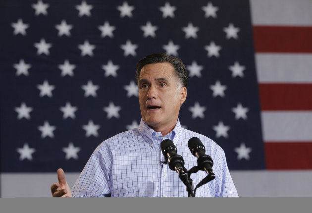 Republican presidential candidate and former Massachusetts Gov. Mitt Romney campaigns at Basalt Public High School, in Basalt, Colo., Thursday, Aug. 2, 2012, en route to Aspen, Colo. (AP Photo/Charles Dharapak)