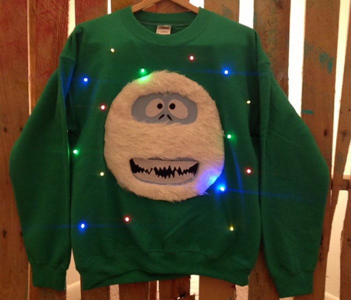 Light-up Christmas sweater, $57, etsy.com