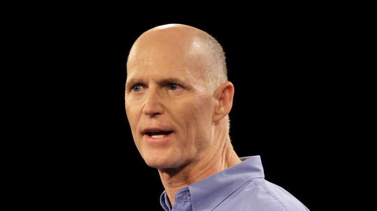 Florida Gov. Rick Scott delivers his keynote address at a Florida Republican Party Presidency 5 Convention Saturday, Sept. 24, 2011, in Orlando, Fla. (AP Photo/John Raoux)