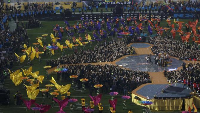 Overview of half-time show during the NFL's Super Bowl 50 football game between the Carolina Panthers and the Denver Broncos in Santa Clara