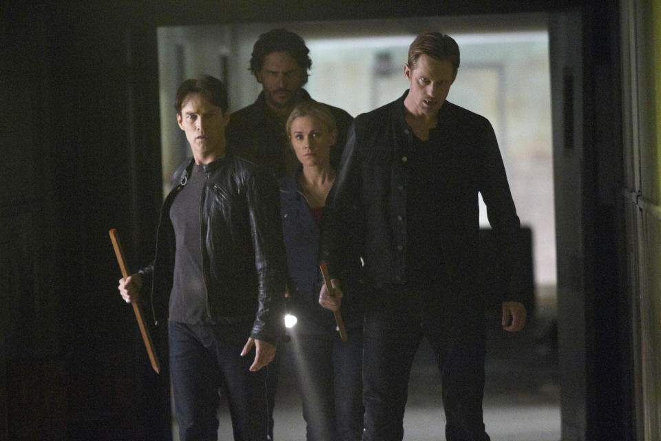 "In this publicity photo provided by HBO, from left, actors Stephen Moyer, Joe Manganiello, Anna Paquin, and Alexander Skarsgard, are shown in a scene from HBO's ""True Blood."" (AP Photo/HBO, John P. Johnson)"