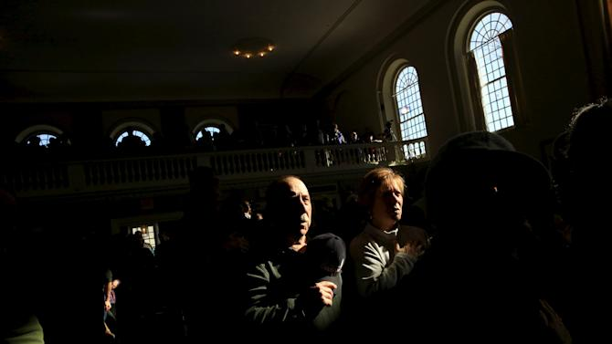 Supporters attend a U.S. Republican presidential candidate Ted Cruz campaign event in Peterborough, New Hampshire