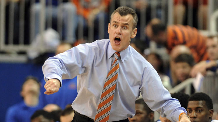 Florida coach Billy Donovan shouts toward the court during the second half of an NCAA college basketball game against Alabama Saturday, Feb. 8, 2014 in Gainesville, Fla. Florida won 78-69. (AP Photo/Phil Sandlin)