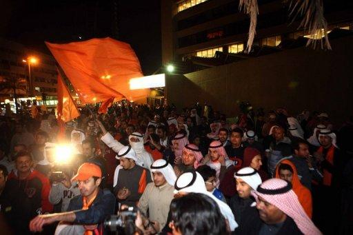 Kuwaiti opposition supporters demonstrate in downtown Kuwait City on December 15, 2012