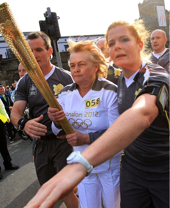 The Olympic torch bearer is re-routed by