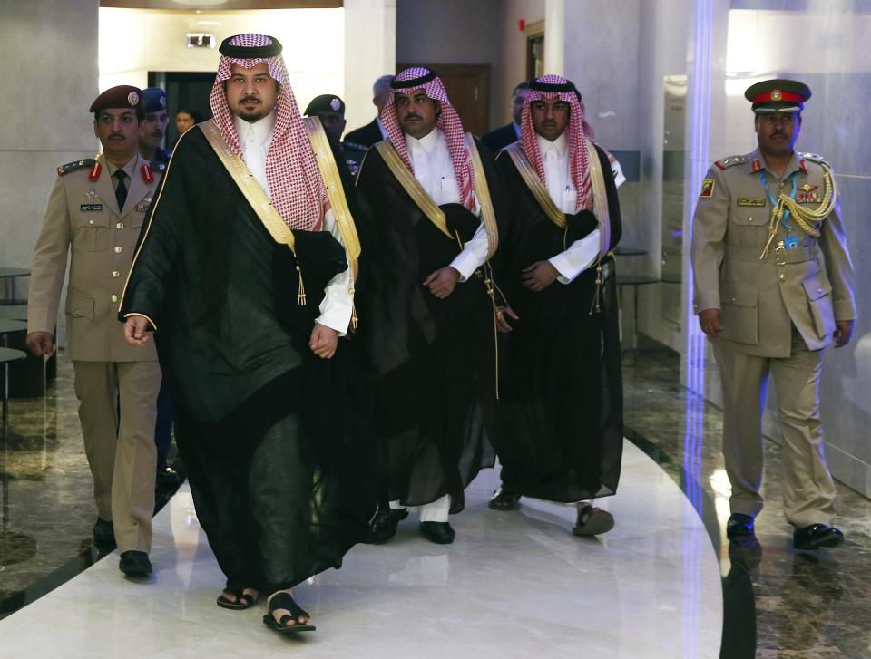 Saudi Arabia Deputy Minister of Defense Prince Salman arrives for a meeting with U.S. Secretary of Defense Hagel in Manama