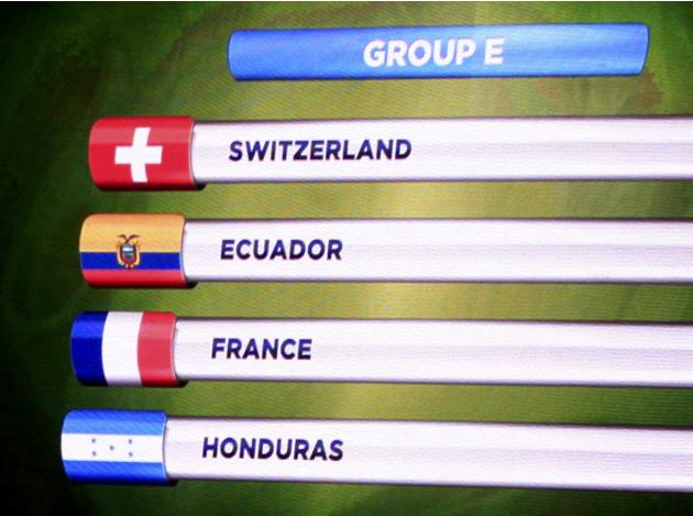 The teams in Group E for the 2014 World Cup finals are shown on the screen after the draw was made at the Costa do Sauipe resort in Sao Joao da Mata