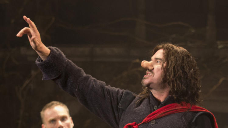 "This theater image released by Boneau-Bryan/Brown shows Douglas Hodge portraying the title role in ""Cyrano de Bergerac,"" playing at the American Airlines Theatre in New York. (AP Photo/Boneau-Bryan/Brown, Joan Marcus)"
