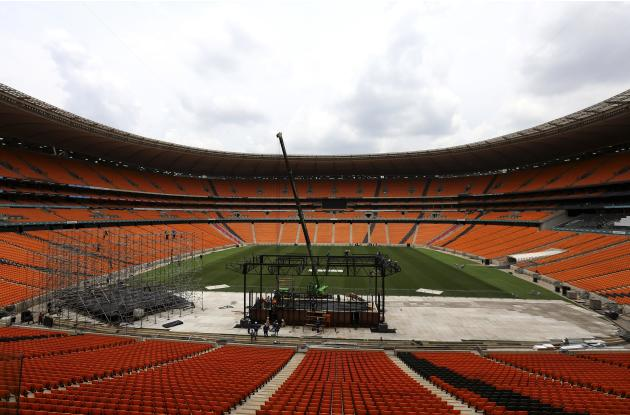 A general view of the construction of a stage ahead of Mandela's national memorial service at FNB Stadium in Johannesburg