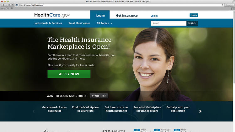 This photo provided by HHS shows the main landing web page for HealthCare.gov. Bedeviled by technology glitches that frustrated millions of consumers, the Obama administration is taking down its health overhaul website for repairs this weekend. Enrollment functions of the healthcare.gov site will be unavailable during off-peak hours this weekend, the Health and Human Services Department said Friday, Oct. 4. The website will remain open for general information. (AP Photo/HHS)