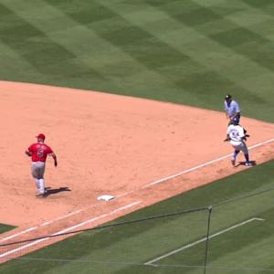 Salas loses glove, gets the out