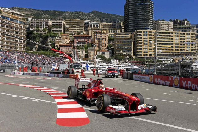 Ferrari Formula One driver Fernando Alonso of Spain drives during the first practice session of the Monaco F1 Grand Prix