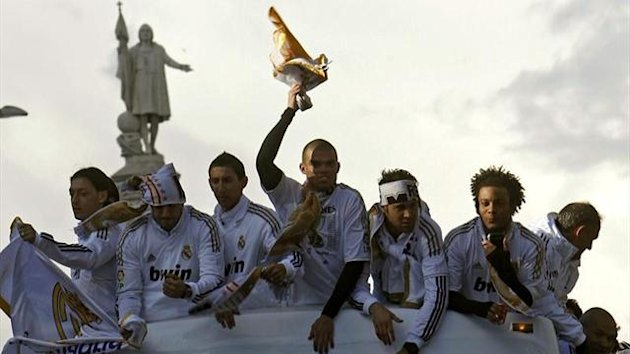 Real Madrid celebrate winning the Spanish title.