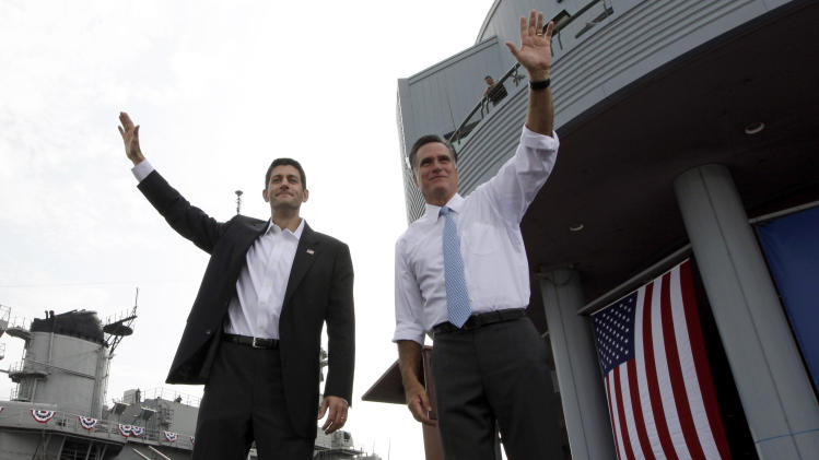 RETRANSMISSION FOR ALTERNATE CROP - Republican presidential candidate, former Massachusetts Gov. Mitt Romney, right, and vice presidential candidate Wisconsin Rep. Paul Ryan, R-Wis., wave at the crowd during a campaign event, Saturday, Aug. 11, 2012 in Norfolk, Va.  (AP Photo/Mary Altaffer)