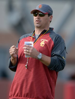 New USC coach Steve Sarkisian during spring practice. (Kirby Lee/USA TODAY Sports)