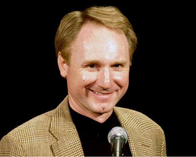 "FILE - In this April 23, 2006 file photo, author Dan Brown talks about his court dealings surrounding his book ""The Da Vinci Code"" in Portsmouth, N.H. Dan Brown's description of Manila as ""the gates o"