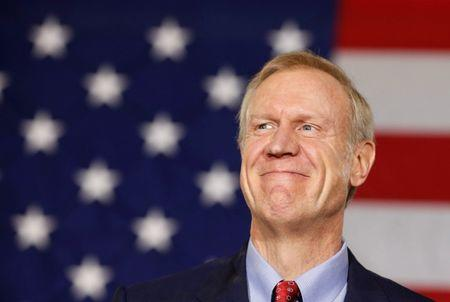Republican Bruce Rauner smiles after winning the midterm elections in Chicago, Illinois