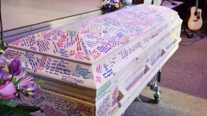 Mourners Cover Casket of Teen Who Lost Battle to Leukemia in Yearbook-Style Tributes