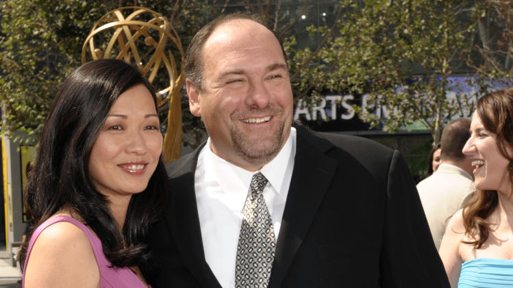 FILE - This Sept. 13, 2008 file photo shows actor James Gandolfini and his wife Deborah Lin at the 2008 Primetime Creative Arts Emmy Awards in Los Angeles.  HBO and the managers for Gandolfini say the actor died Wednesday, June 19, 2013, in Italy. He was 51. (AP Photo/Chris Pizzello, file)