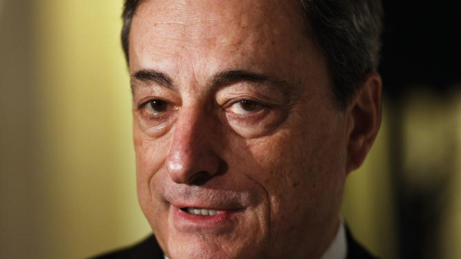 The President of the European Central Bank, Mario Draghi ,attends a meeting of political and business leaders the so called 'Leaders Meeting' of German Newspaper 'Sueddeutsche Zeitung' in Berlin, Thursday, Nov. 21, 2013. (AP Photo/Markus Schreiber)