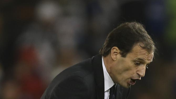 Massimiliano Allegri , head coach of Juventus reacts during their Italian Super Cup against Napoli  at Al-Sadd Stadium, in Doha