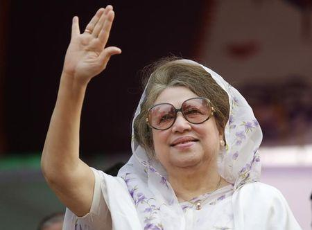 File photo of BNP Chairperson Khaleda waving to activists as she arrives for a rally in Dhaka