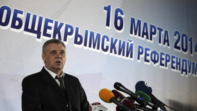 Head of Crimean referendum commission Malyshev speaks during a news conference in the Crimean capital of Simferopol