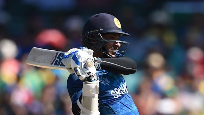 Sri Lanka's Kumar Sangakkara plays a shot during the Cricket World Cup quarter-final match against South Africa in Sydney on March 18, 2015