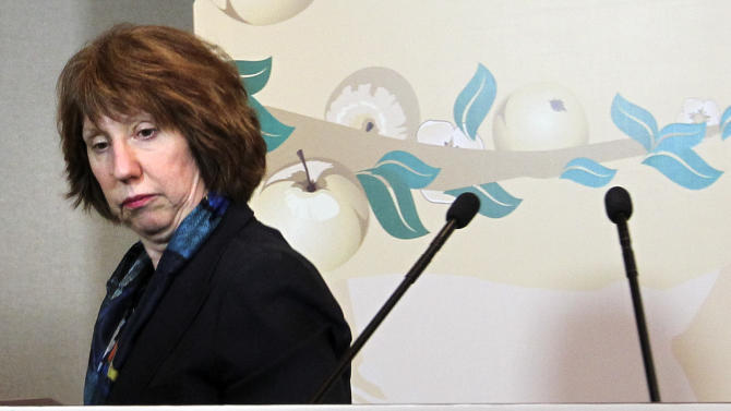 EU foreign policy chief Catherine Ashton leaves her news conference after the high-level talks between world powers and Iranian officials in Almaty, Kazakhstan, Saturday, April 6, 2013. Iran and six world powers failed to reach agreement Saturday on a common approach to reducing fears that Tehran might misuse its nuclear technology to make weapons, with the EU's foreign policy chief declaring that the to sides ''remain far apart on substance.'' (AP Photo/Pavel Mikheyev)