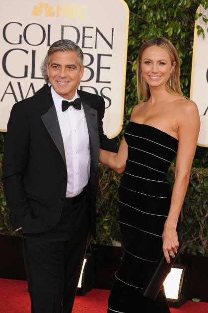 George Clooney and Stacy Keibler arrive at the 70th Annual Golden Globe Awards held at The Beverly Hilton Hotel on January 13, 2013 -- Getty Images