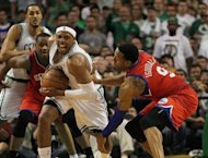Philadelphia 76ers' Andre Iguodala (R) and Boston Celtics' Paul Pierce during game seven of their NBA Eastern Conference second-round series on May 26. Iguodala scored 18 points for Philadelphia, which had eliminated injury-plagued top seeds Chicago in the first round