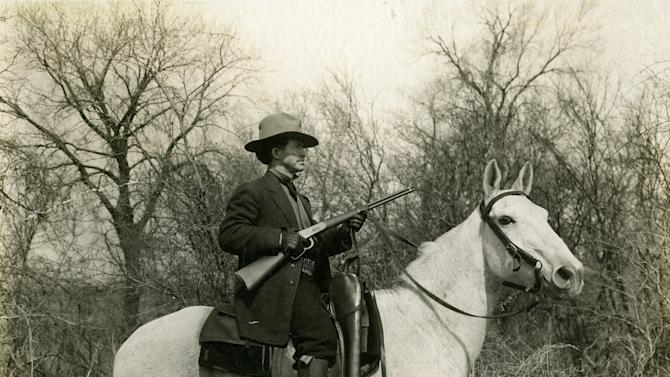 This image provided by the Oklahoma Historical Society shows Al Jennings in the Winter of 1913-1914. A pistol and other possessions belonging to the one-time Old West outlaw who later ran for governor of Oklahoma and became a film actor are going up for auction next month. (AP Photo/Oklahoma Historical Society)