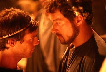James Callis as Menelaus and Rufus Sewell as Agamemnon