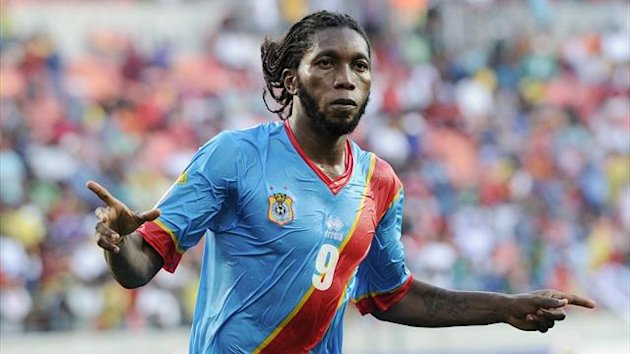 DR Congo striker Dieumerci Mbokani celebrates equalising against Ghana in their African Cup of Nations Group B match in Port Elizabeth