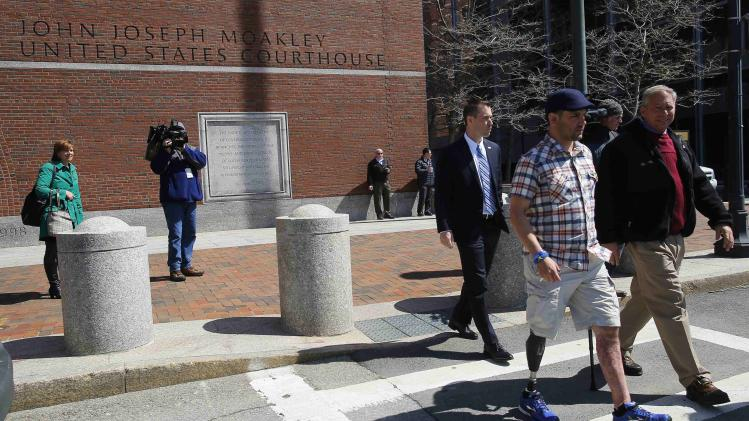 Fucarile, 2013 Boston Marathon bombing victim, leaves federal courthouse after attending pre-trial hearing in case against accused Marathon bomber Tsarnaev in Boston