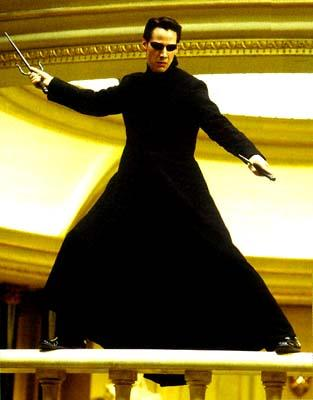 Neo ( Keanu Reeves ) in Warner Brothers' The Matrix: Reloaded