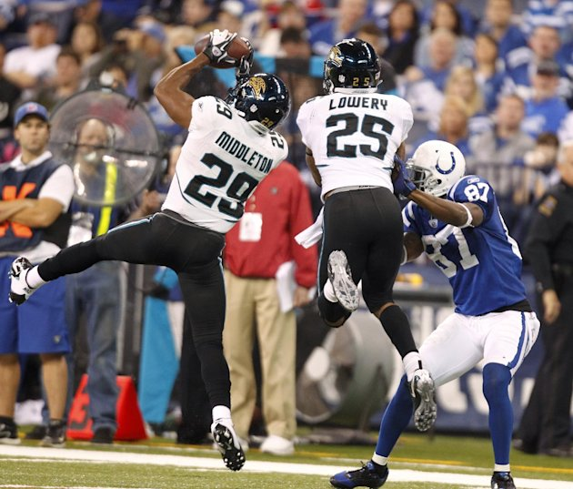 Jacksonville Jaguars' William Middleton (29) makes an interception during the second half of an NFL football game against the Indianapolis Colts, Sunday, Nov. 13, 2011, in Indianapolis. The pass was i