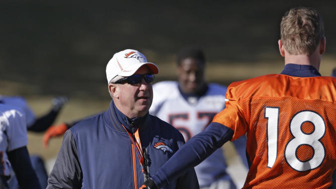 Denver Broncos head coach John Fox talks with quarterback Peyton Manning (18) at football practice at the team's training facility in Englewood, Colo., on Wednesday, Jan.9,  2013. The Broncos are scheduled to play the Baltimore Ravens in an NFL playoff game on Saturday. (AP Photo/Ed Andrieski)