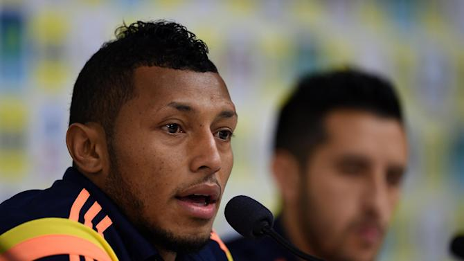 Colombia's defender Carlos Valdes speaks during a press conference in Cotia, Sao Paolo on July 1, 2014