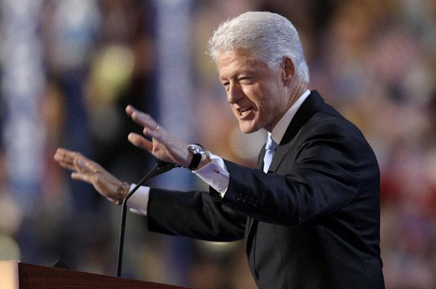 FILE - In this Aug. 27, 2008, file photo, former President Bill Clinton speaks at the Democratic National Convention in Denver. The way Democrats and Republicans treat their ex-presidents at convention time reflects each man's personal popularity and also how well he's weathered changes in party politics. It helps to be a dynamite speaker, too. Clinton scores on all three: his speeches are rousing, if long; his popularity extends to coveted independent voters; and his centrist appeal plays well across today's Democratic Party. It's no wonder that Democrats are have forgiven, if not forgotten, that business about Monica Lewinsky and impeachment that seemed to have permanently marred his presidency as it ended a dozen years ago. (AP Photo/Charlie Neibergall, File)