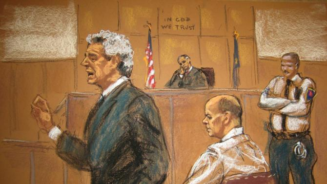 Hernandez, who is charged with the abduction and murder of Patz, sits while defense attorney Fishbein speaks and judge Wiley observes, during opening statements at State Supreme Court in Manhattan in New York