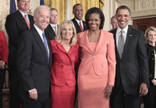 President Barack Obama, first lady Michelle Obama, Vice President Joe Biden and his wife Dr. Jill Biden, pose in the in the East Room of the White House on Tuesday, April 12, 2011, after launching 