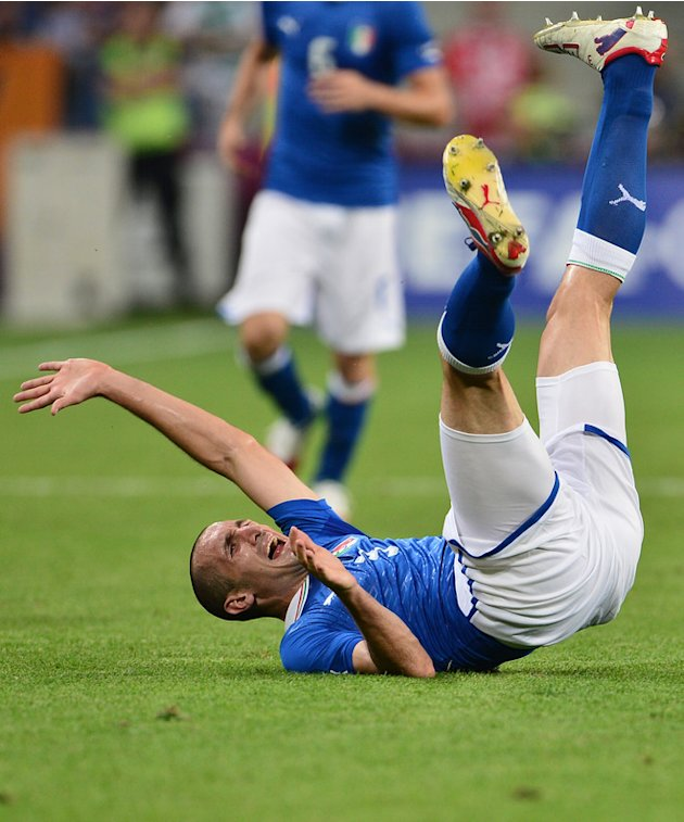 Italian Defender Giorgio Chiellini Falls AFP/Getty Images