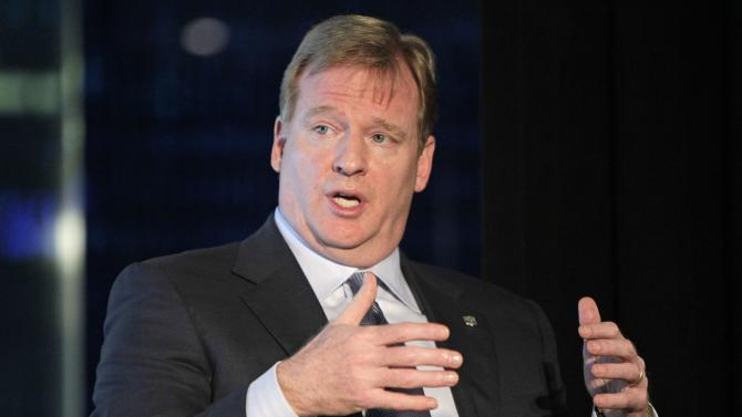 National Football League Commissioner Roger Goodell gestures during the Beyond Sport Summit Tuesday, Sept. 27, 2011, at Yankee Stadium in New York.  The summit brings together more than 80 domestic and international sports teams to address their role in triggering positive social change in the communities they serve. (AP Photo/Kathy Willens)