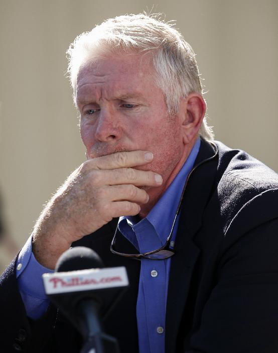 Baseball Hall of Famer and former Philadelphia Phillies third baseman Mike Schmidt speaks at a news conference at the Phillies spring training complex Sunday, March 16, 2014, in Clearwater, Fla