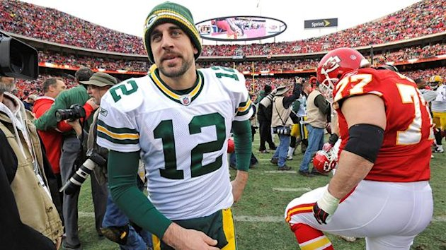 Green Bay Packers quarterback Aaron Rodgers leaves the field after the Kansas City Chiefs' win in their AFC-NFC NFL football game at Arrowhead Stadium in Kansas City