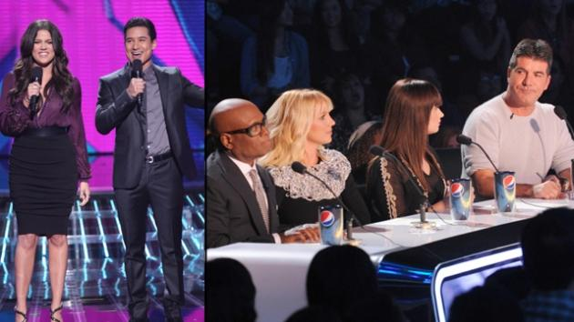 Khloe Kardashian Odom & Mario Lopez; Judges L.A. Reid, Britney Spears, Demi Lovato and Simon Cowell on the first live round of 'The X Factor,' Season 2, on FOX -- FOX